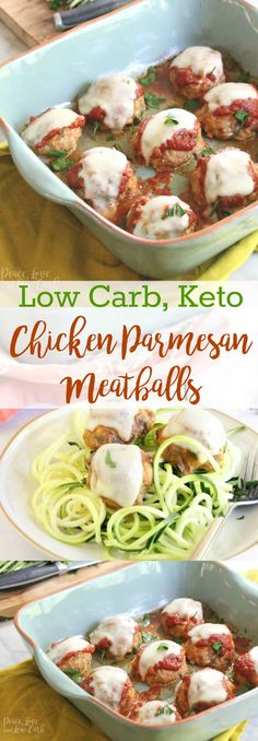 Low Carb Chicken Parmesan Meatballs | Peace Love and Low Carb via @PeaceLoveLoCarb