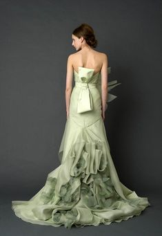 Vera Wang Harper gown (back view). Vera Wang gowns are sold at The Bridal Salon at Saks Jandel. Colored Wedding Gowns, Green Wedding Dresses, Designer Wedding Dresses, Dress Wedding, Designer Gowns, Pale Green Weddings, Wedding Mint Green, Vera Wang Bridal, Vera Wang Wedding