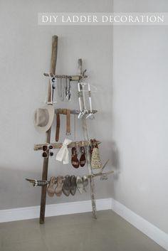 Driftwood DIY decorative accessory holder ladder...