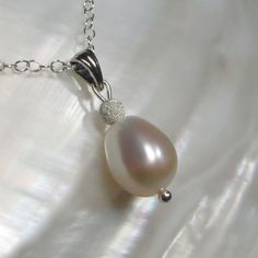 White Freshwater Pearl Drop Pendant on Sterling Silver by kauainanidesigns on Etsy, $28.00