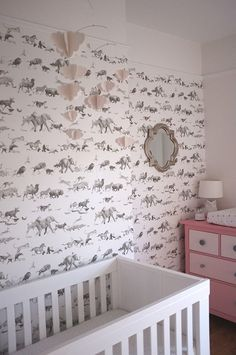 Real Rooms: A Modern Animals Nursery // John Lewis Stockholm Cot // The White Company paper clouds mobile