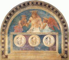 ANDREA DEL CASTAGNO (1421 - 1457)    Cristo in pietà sorretto da due angeli. Fresco.