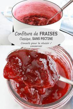Recette de la confiture de fraises traditionnelle, sans pectine industrielle. 3 ingrédients : fraises, sucre et jus de citron. Environ 20 minutes de cuisson. Des conseils pour la réussir et pour la conserver. via @lacculinaire