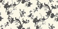 Chinoise Shadow Black (422805) - Arthouse Wallpapers - A classic, traditional bird of paradise in floral boughs design - shown in the shadow print silhouette without details - available in a range of colours. Shown in the black on white colourway. Please request sample for true colour match.