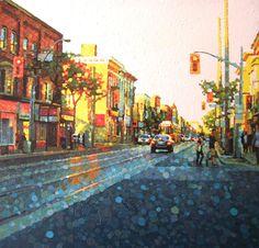 "Susan Gale Show - Neighborhood Lights, 30"" x 30"", acrylic on panel"