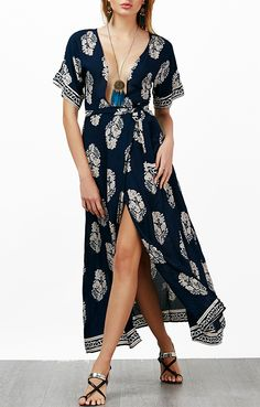 Printed Plunging Neck Self Tie Maxi Dress Cheap Maxi Dresses dca723546