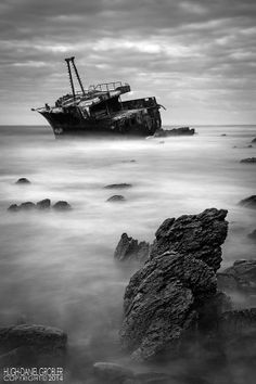 Claimed by the Tide by Hugh-Daniel Grobler on Photography Tips, South Africa, Abandoned, Monochrome, Waterfall, Coast, River, Beach, Water