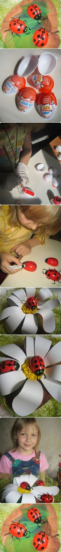 How to Make Painted Ladybug from Easter Egg by iris-flower Egg Crafts, Cute Crafts, Preschool Crafts, Easter Crafts, Diy And Crafts, Arts And Crafts, Easter Decor, Diy For Kids, Crafts For Kids