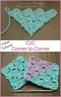 DIY Crochet Tutorial – C2C Corner-To-Corner! – The Purple Poncho. Learn How to C2C - Video Tutorial.