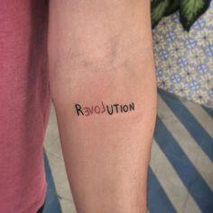 Frase: Revolution Love - Exist Tutorial and Ideas Dainty Tattoos, Pretty Tattoos, Small Tattoos, Cool Tattoos, Tatoos, Modern Tattoos, Creative Tattoos, Unique Tattoos, Little Tattoos