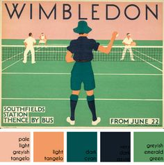 vintage Wimbledon travel poster designed by Herry Perry for Underground Electric Railways Company Ltd in 1931