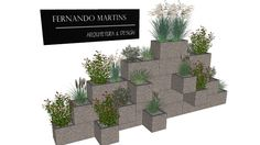 Jardim com bloco de concreto - 3D Warehouse