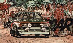 colecionador de bd:Ford Escort XR3v desenhado por Jean Graton no episódio Rali sobre um vulcão  da série  Michel Vaillant.