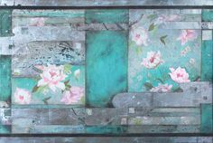 """""""How reluctantly   the bee emerges from deep within the peony""""  Matsuo Basho   (1644 ~1694)  Mixed Media on Canvas,   101cm x 152cm, 2014  Nerina Lascelles  Tumblr"""