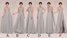 grey bridesmaid dresses long, long lavender bridesmaid dresses, grey formal bridesmaids dresses,long prom dresses, chiffon formal dresses on Etsy, £72.39