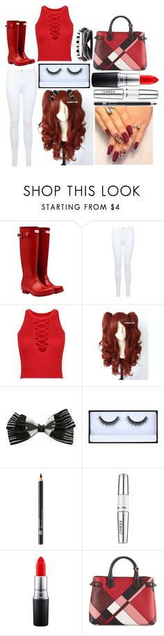 """""""Emma: October 6, 2016"""" by disneyfreaks39 ❤ liked on Polyvore featuring Hunter, Miss Selfridge, WithChic, Disney, Huda Beauty, Maybelline, Clinique, MAC Cosmetics and Burberry"""