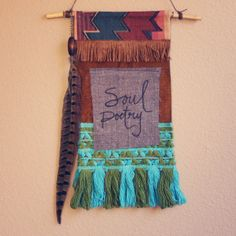 soul poetry  bohemian textile prayer flag wall by RootsandFeathers, $50.00