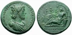 RI161 A Rare Roman Oirchalcum Medallion of Commodus (177-193 C.E.), With a Wonderful Janiform Bust of the Emperor and Janus