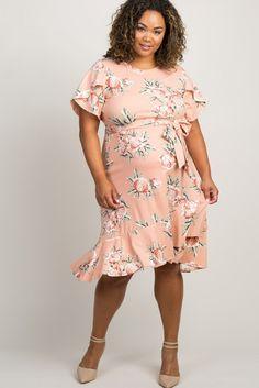 b209ed8b9ddf0 Pink Floral Ruffle Trim Maternity Plus Midi Dress - A floral, plus size  maternity midi