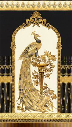 "Ivory, Amber, Golden Topaz, Tiger's Eye Brown, Taupe, Pewter, Hematite Gray, Black, Gold Metallic Lone gilded peacock proudly stands on a regal pedestal decorated with Art Deco roses. Encircled by an ornate cartouche bordered by a glistening fence & crowned with a row of feathers, this bejeweled peacock lives in a beautiful world indeed. 24"" panel, with gold metallic, from the 'Beau Monde' collection for Robert Kaufman. Window framing peacock is about 16"" wide, design runs full width of…"