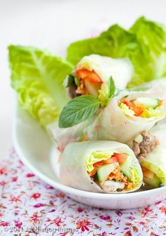 I love spring rolls! They are so fresh and easy to make. I make them all of the time. Two or more times a month. (usually more).    I put chicken in mine. I marinate the chicken in some soy sauce, raw sugar, ground ginger and garlic powder and then cook it in a skillet.    Make a meal out of them and have a small bowl of rice and kimchi on the side! Healthy, fresh and yummy.  :)