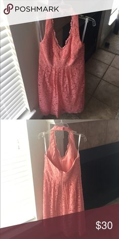Coral lace halter dress Wore it for a wedding and then haven't worn it since. Practically new David's Bridal Dresses Wedding