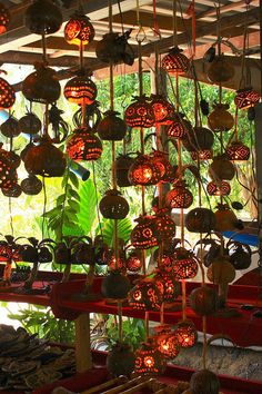 Lamps from Coconut Shells by coloured glass
