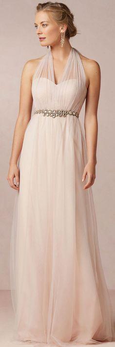Halter A-line Floor-length Sleeveless Zipper Bridesmaid Dresses