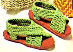 Womans Rug Yarn Crochet Sandals Pattern - Vintage Crafts and More