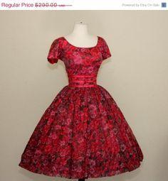 1950's Print Chiffon Dress