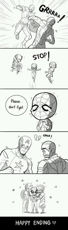 Maybe this is a reason why spidey appeared in cilvil War. Hahaha - Marvel Fan Arts and Memes Funny Marvel Memes, Marvel Jokes, Avengers Memes, Funny Comics, Spideypool, Superfamily Avengers, Stony Superfamily, Hero Marvel, Marvel Avengers