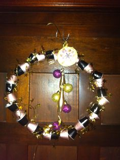 Christmas wreath made with nespresso capsules