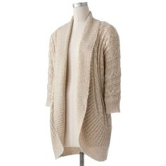 Apt. 9® Lurex Open-Front Cardigan ($42) ❤ liked on Polyvore