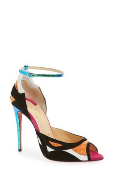 christian louboutin leather multistrap pumps
