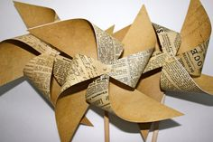 Steampunk decor 3 Large Twirlable Pinwheels VINTAGE INSPIRED by pickledparlor. $12.00, via Etsy.