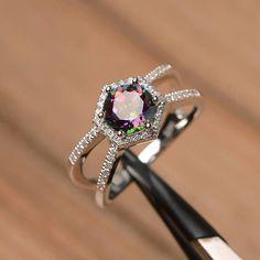 mystic topaz ring wedding ring solid sterling silver ring round cut rainbow gemstone ring November birthstone ring