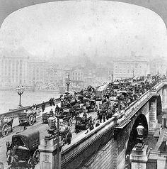 London Bridge, City of London, 1870s ~ Looking northwards across the busy London Bridge towards the City. In 1831 the medieval bridge was replaced by the structure seen here, designed by John Rennie, which was again replaced in the early 1970s when this bridge was relocated to Lake Havasu, Arizona ,USA.