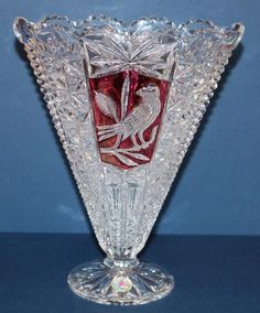 "Hofbauer The Byrdes Collection 24% Lead Crystal Ruby Red Bird Fan Vase 9"" H"