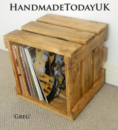 Handmade Rustic Industrial Record Case Crate Storage Box