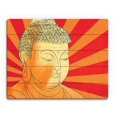 Buddha With Vermillion Rays Wall Art Print On Wood
