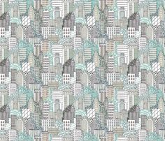 Biro City at Day fabric by teja_jamilla on Spoonflower - custom fabric