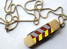 Vintage Pocket Knife Necklace with Hand Painted Chevron Stripe
