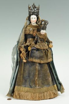 santos crowns   Porcelain Santos dolls, Madonna & Child with crown : Lot 303