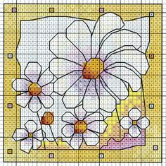 'Daisies' from Michael Powell's 'Mini Cross Stitch' book (paperback, pub. Search Press). There are twenty to make and they are all very quirky and appealing. I have made most of the pictures in this book for someone or other and they are a real pleasure to work on.