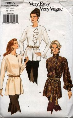 Vogue 8855 Flounced Ruffled or High Neck Blouse 90s Vintage Sewing Pattern Size 12 14 16 Bust 34 36 38 inches UNCUT Factory Folded