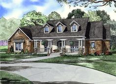 House Plan 61377   Country   Southern    Plan with 2373 Sq. Ft., 4 Bedrooms, 3 Bathrooms, 2 Car Garage