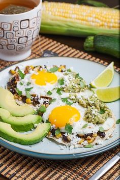 Caramelized Corn and Black Bean Huevos Rancheros with Roast Zucchini Salsa - A hearty, tasty and pretty healthy breakfast that will not fail to impress! Zucchini Salsa, Roast Zucchini, Breakfast Dishes, Breakfast Time, Breakfast Recipes, Mexican Food Recipes, Healthy Recipes, Yummy Recipes, Vegetarian Recipes