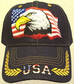 Patriotic bald eagle usa u.s. flag american pride denim blue oak leaves cap  hat e22ae8391bfc