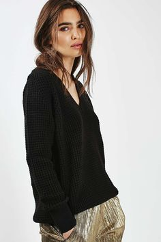 Textured V Jumper - Topshop