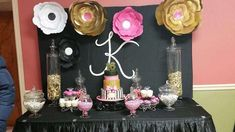 Pink and black glam birthday party! See more party ideas at CatchMyParty.com!